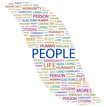 PEOPLE. Word collage on white background. Vector