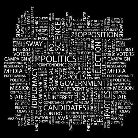 POLITICS. Word collage on black background. Stock Vector - 7346833