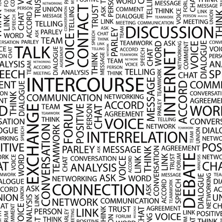 acquaintance: INTERCOURSE. pattern with word cloud.