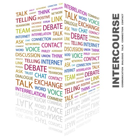 INTERCOURSE. Word collage on white background. Vector