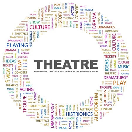 THEATRE. Word collage on white background. Vector illustration.