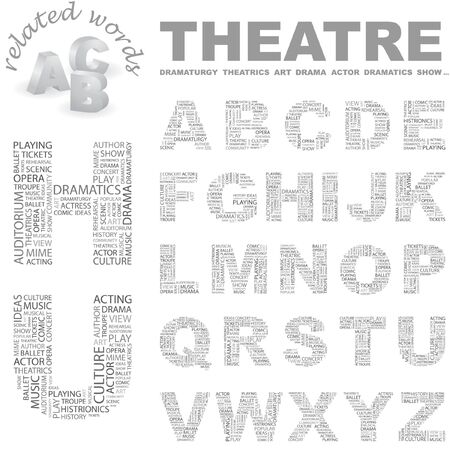 theatrics: THEATRE. Word cloud illustration.