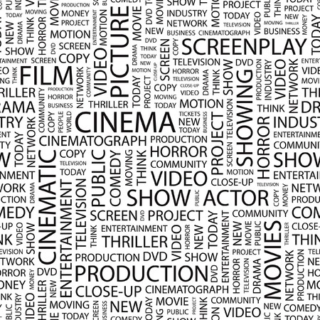 CINEMA. pattern with word cloud.   Vector