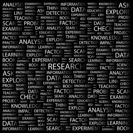 inquest: RESEARCH. Word collage on black background.