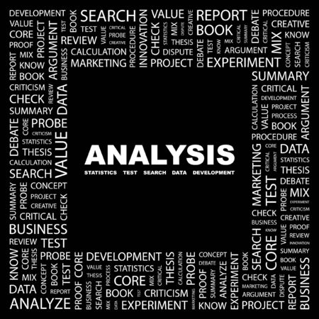 ANALYSIS. Word collage on black background. Stock Vector - 7346622
