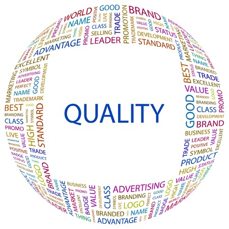 total: QUALITY. Word collage on white background. Illustration