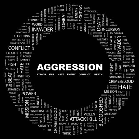 AGGRESSION. Word collage on black background. Stock Vector - 7346960