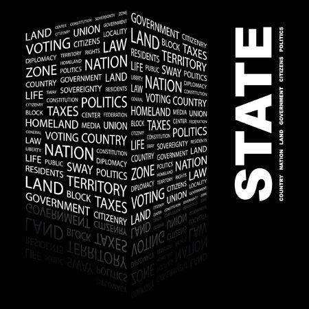 citizenry: ESTADO. Palabra collage sobre fondo negro.
