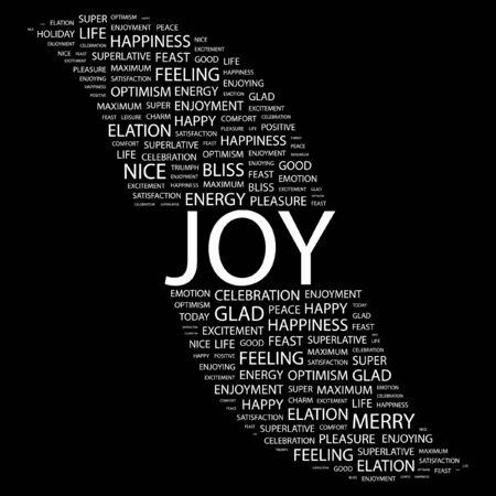 elation: JOY. Word collage on black background. Illustration