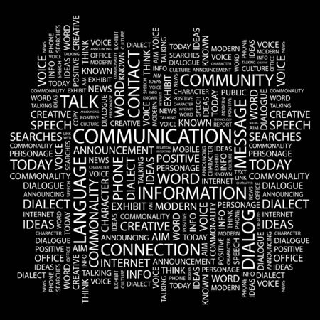 advisement: COMMUNICATION. Word collage on black background.