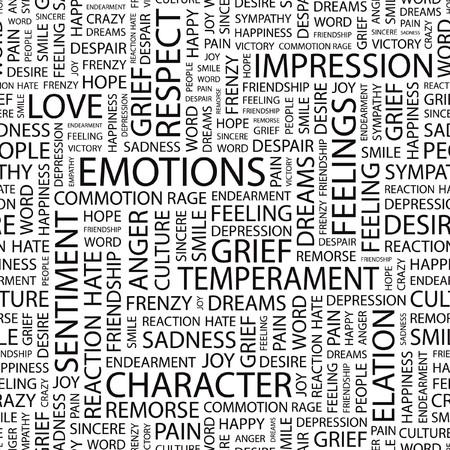 EMOTIONS.pattern met woord wolk.  Vector Illustratie
