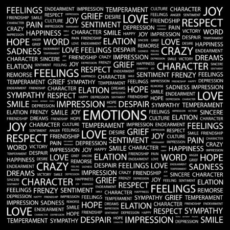 endearment: EMOTIONS. Word collage on black background.