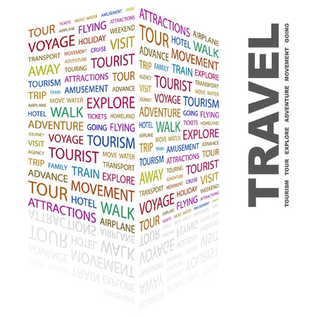 TRAVEL. Word collage on white background. Vector