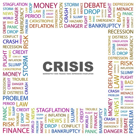 contingency: CRISIS. Word collage on white background.