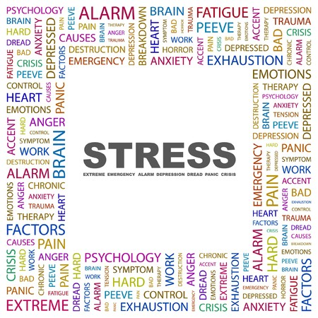 STRESS. Word collage on white background.  Vector