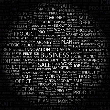 BUSINESS. Word collage on black background. Vector