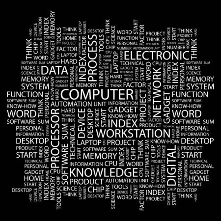 COMPUTER. Word collage on black background. Vector