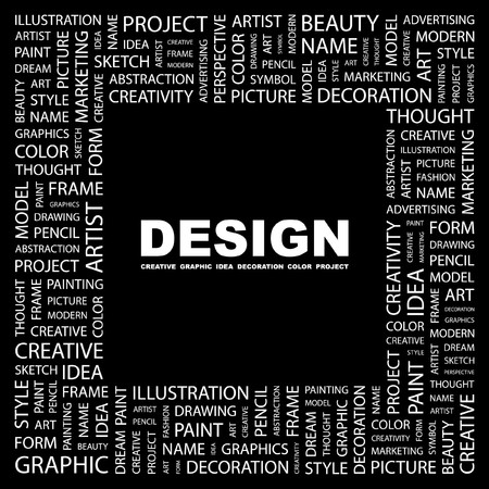 printing business: DESIGN. Word collage on black background.