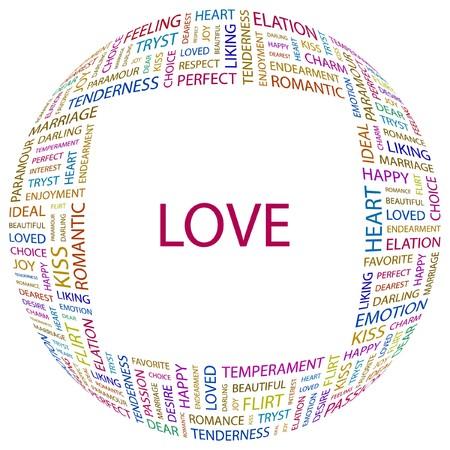 dearest: LOVE. Word collage on white background.