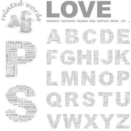 LOVE.Word cloud illustration.   Vector