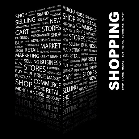SHOPPING. Word collage on black background. Stock Vector - 7347048