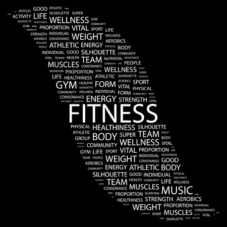athletic type: FITNESS. Word collage on black background. Illustration