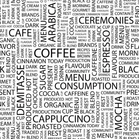 expresso: COFFEE.Word cloud illustration.   Illustration