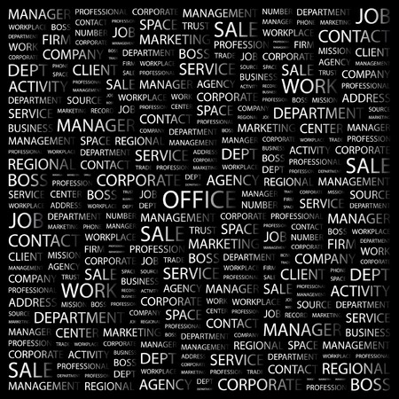 OFFICE. Word collage on black background. Vector illustration.    Vector