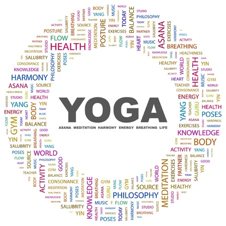 yoga position: YOGA. Word collage on white background.