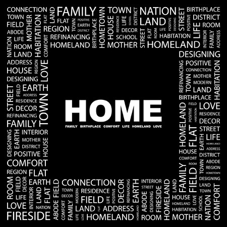 HOME. Word collage on black background. Vector