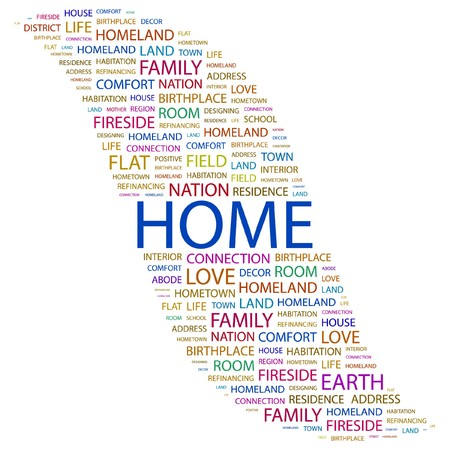 refinancing: HOME. Word collage on white background