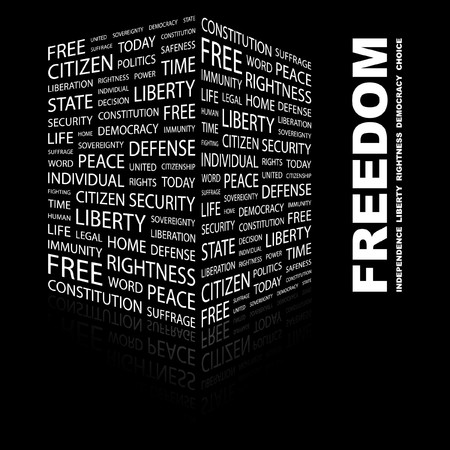 FREEDOM. Word collage on black background. Stock Vector - 7346977