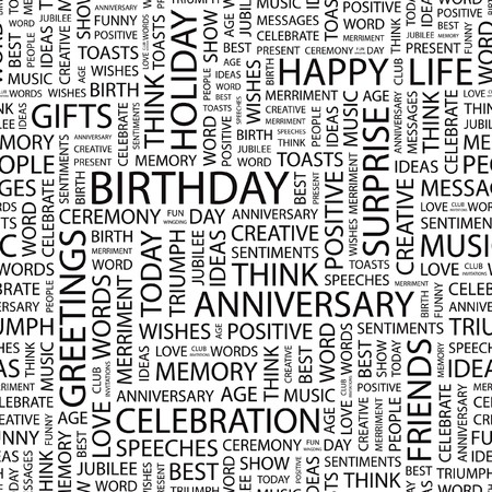 BIRTHDAY.pattern with word cloud.   Vector