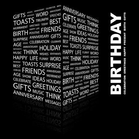 wingding: BIRTHDAY. Word collage on black background. Illustration