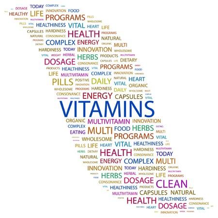 vitamina a: VITAMINAS. Palabra collage sobre fondo blanco.