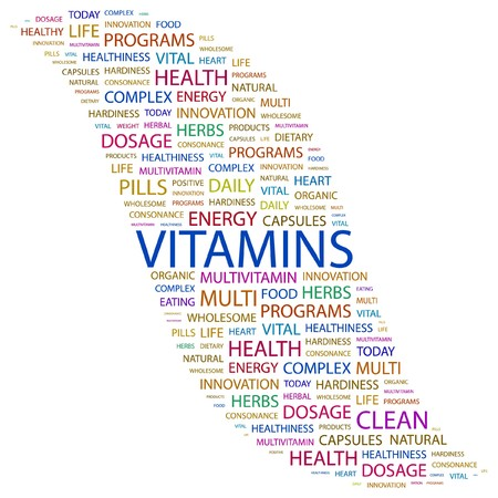 and vitamin: VITAMINS. Word collage on white background.