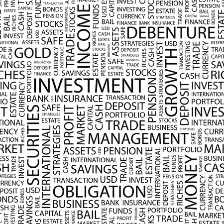 INVESTMENT. pattern with word cloud.   Vector