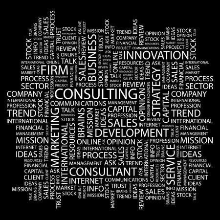 financial consultant: CONSULTING. Word collage on black background. Illustration