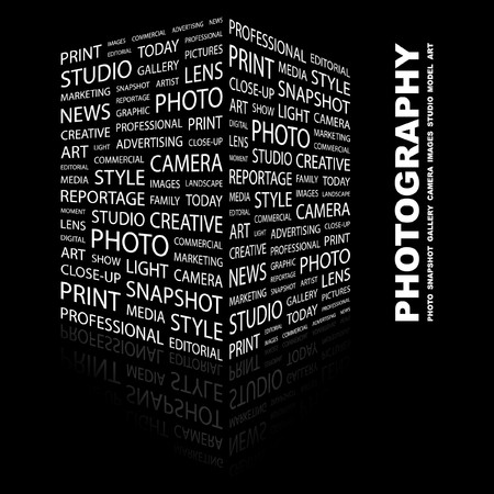 PHOTOGRAPHY. Word collage on black background. Stock Vector - 7347005
