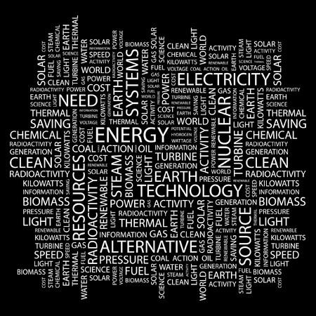 ENERGIE. Wort Collage auf schwarzem Hintergrund.