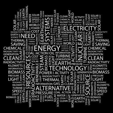 renewables: ENERGY. Word collage on black background.