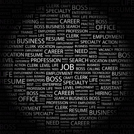 career entry: JOB. Word collage on black background. Illustration