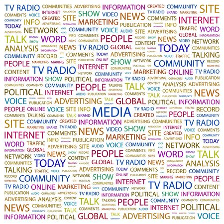 MEDIA. Word collage on white background.