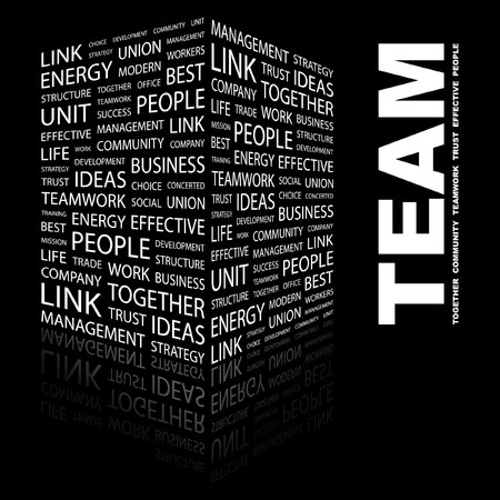 TEAM. Word collage on black background. Stock Vector - 7346983