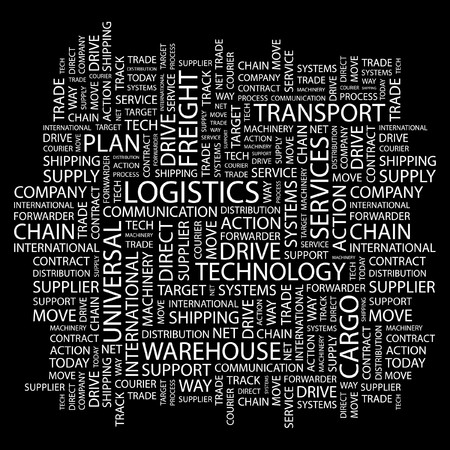 paper chain: LOGISTICS. Word collage on black background.