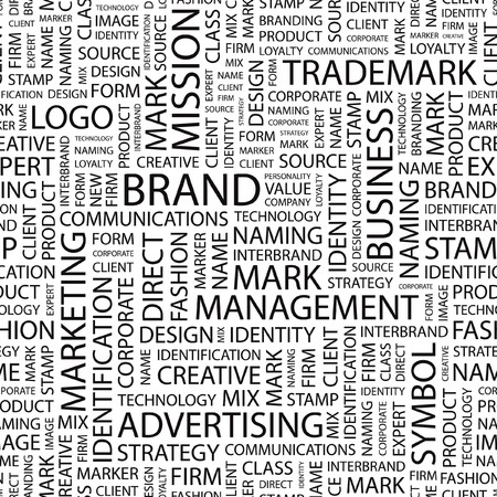 interbrand: BRAND. Word cloud illustration.   Illustration