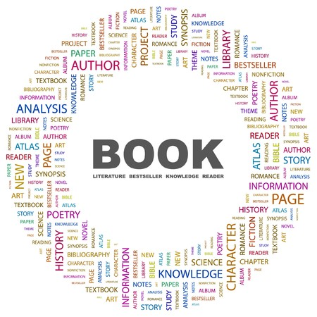 nonfiction: BOOK. Word collage on white background. illustration.    Illustration