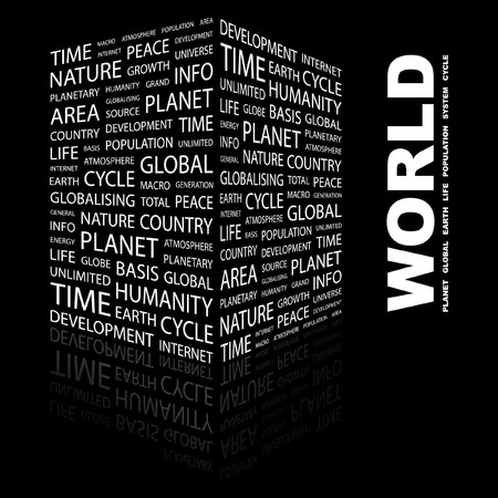 WORLD. Word collage on black background.  illustration.    Vector