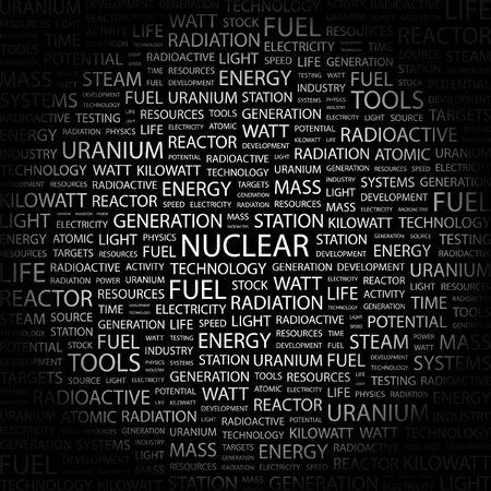 kilowatts: NUCLEAR. Word collage on black background.  illustration.