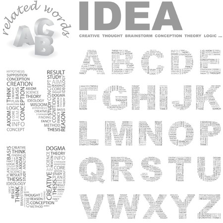 theorem: IDEA. letter collection. Word cloud illustration.